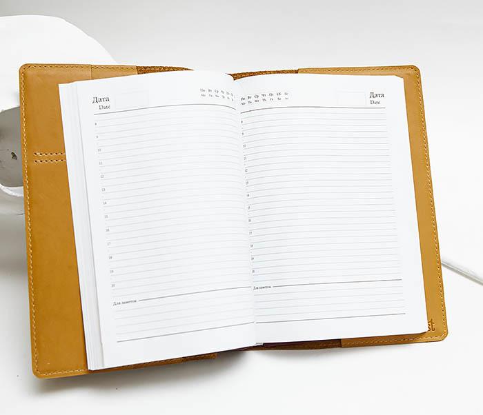 BY051901 Кожаный ежедневник «Ежедневник» со сменным блоком (А5) фото 05