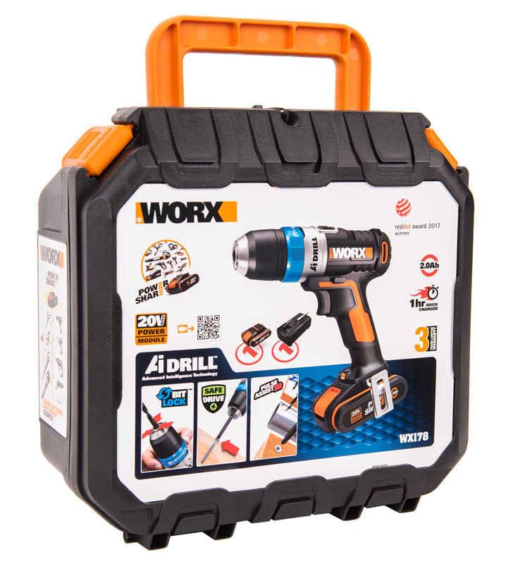 Дрель-шуруповерт аккумуляторная WORX AiDrill WX178, 20В, 2Ач x1, кейс