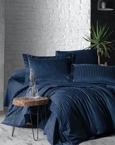 Комплект постельного белья DO&CO Сатин  жаккард DELUX 200*220 (50*70/2) (70*70/2) LINEAR цвет синий