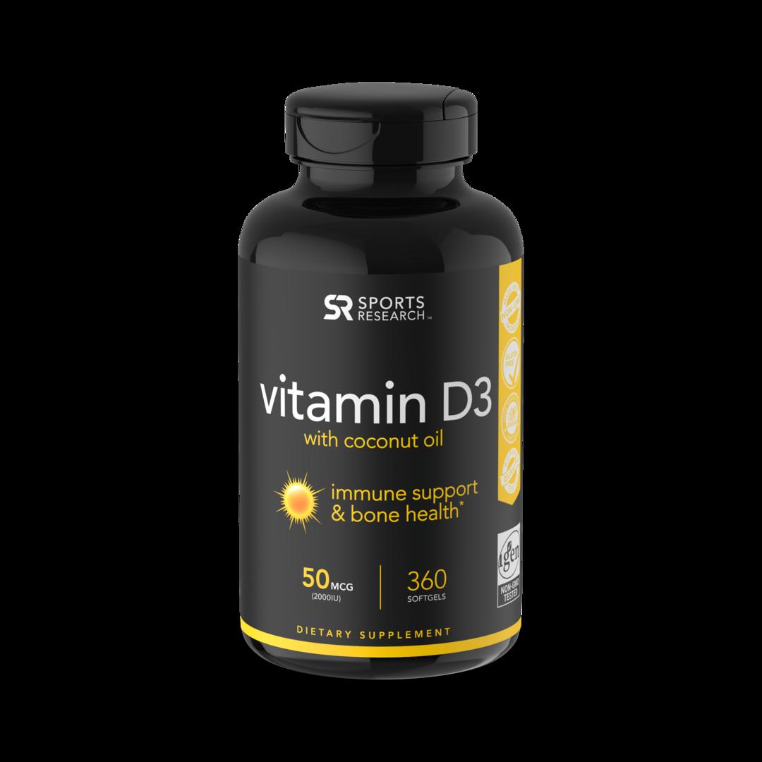 Витамин D3, 2000 МЕ, Vitamin D3, Sports Research, (360 капсул)