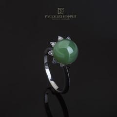Кольцо с зеленым нефритом и серебром Sola