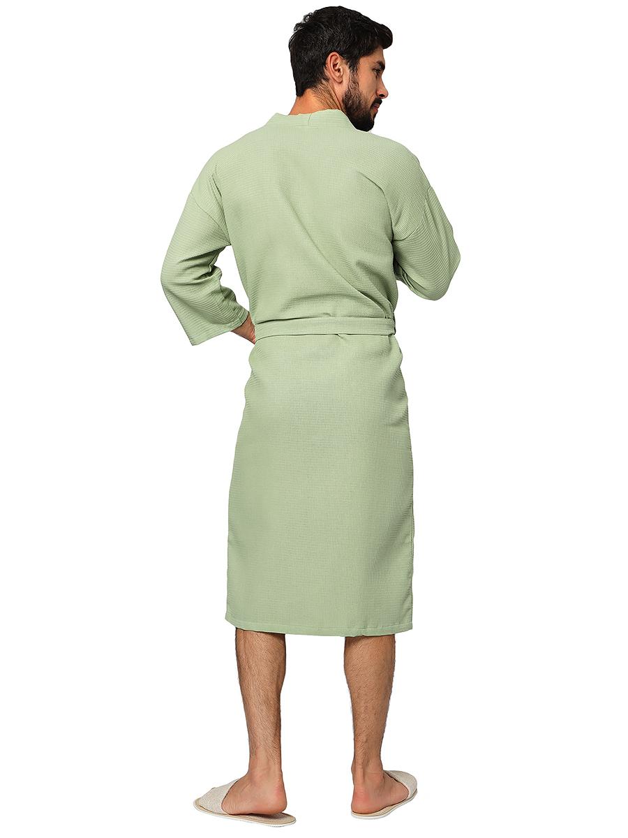 Оливковый мужской вафельный халат для бани