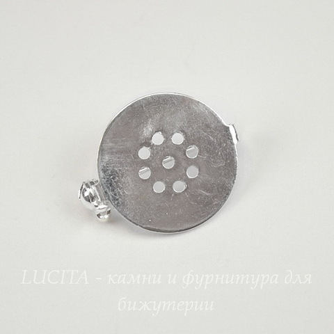 Основа для броши с круглой площадкой 18 мм (цвет - серебро)