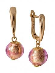 Серьги Примавера золотисто-розовые на серебряных швензах