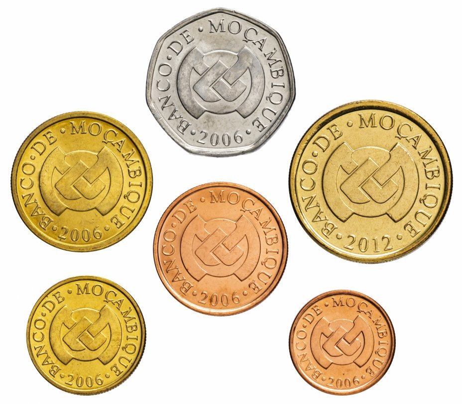 Набор из 6 монет Мозамбик. 2006-2012 гг. AU-UNC