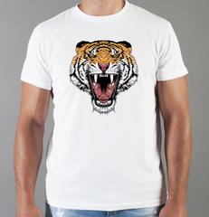 Футболка с принтом Тигр (Tiger) белая 0017
