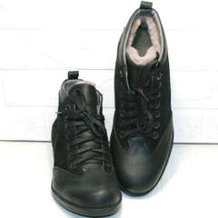 Мужские зимние ботинки из натуральной кожи Luciano Bellini 6057-58K Black Leathers & Nubuk.