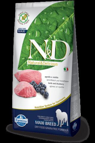 купить Farmina N&D Lamb & Blueberry Adult Maxi сухой беззерновой корм для взрослых собак крупных пород ягненок черника