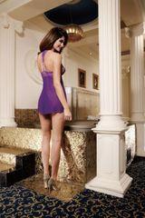 Фиолетовый бэбидолл с кружевной бретелью на спине