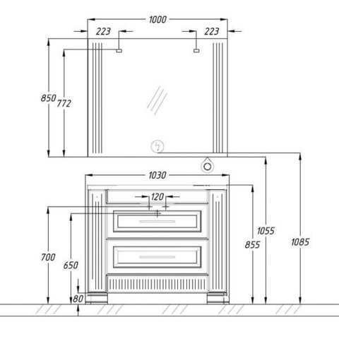 Комплект мебели Опадирис Оникс 100 см (тумба с раковиной + зеркало)