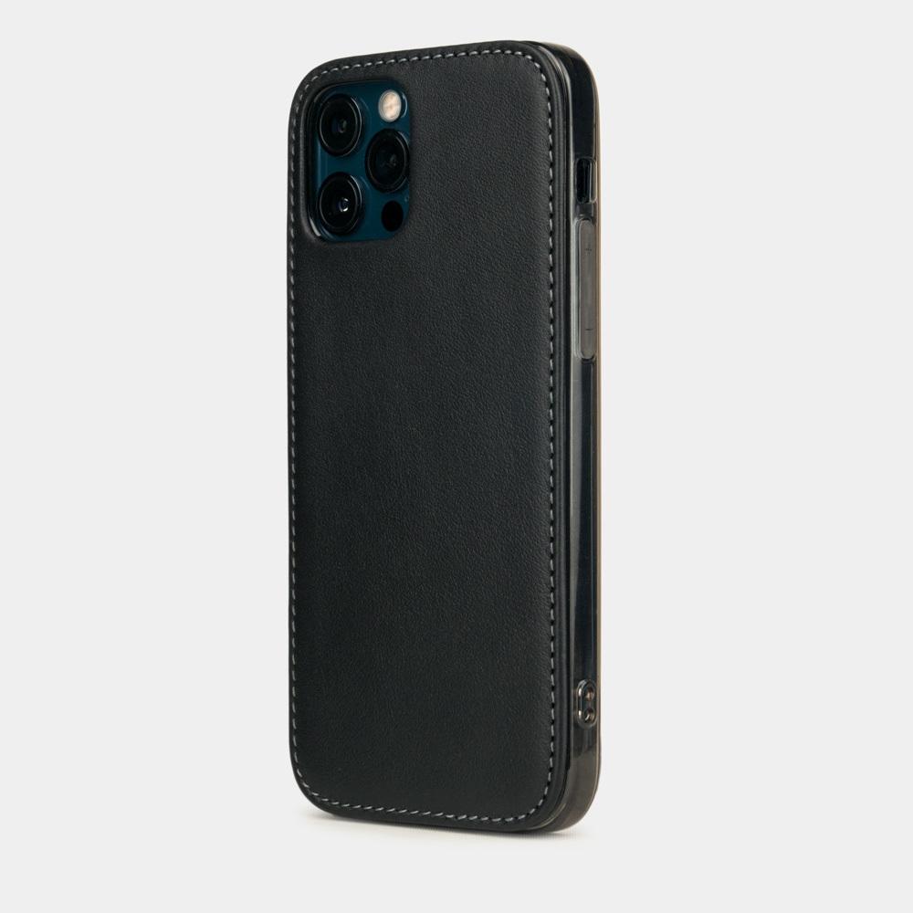 Чехол-накладка для iPhone 12 Pro Max из натуральной кожи теленка, черного цвета