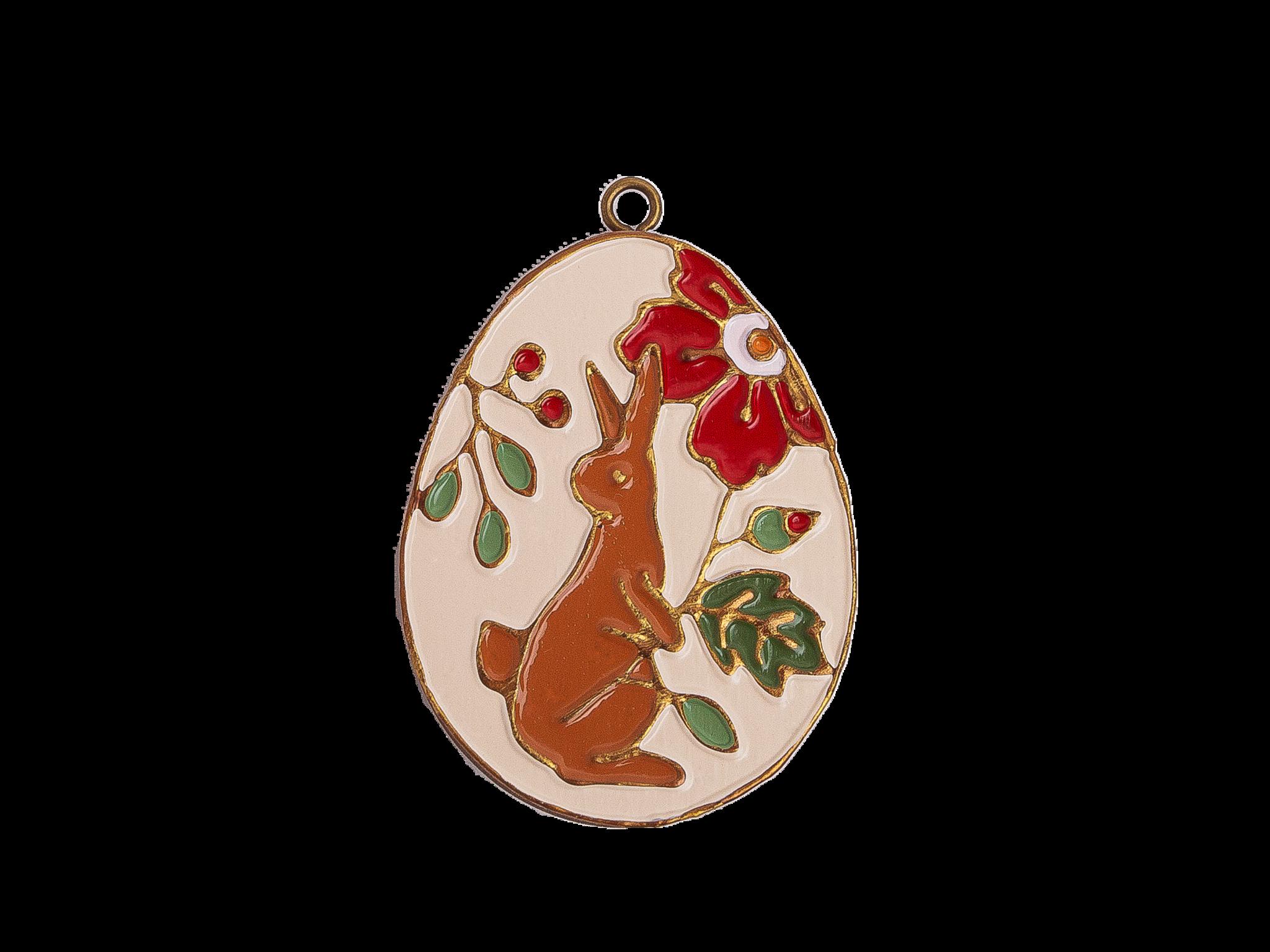 Пасхальное украшение Яйцо с Кроликом, цвет: античный белый