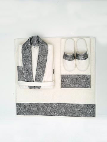 НАБОР махровый мужской халат COCO CHANEL серый SOFT COTTON Турция