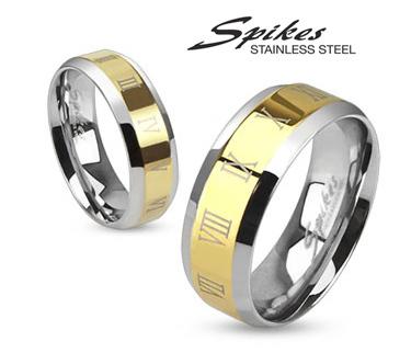 R-M0031-8 Мужское кольцо золотистого цвета с римскими цифрами