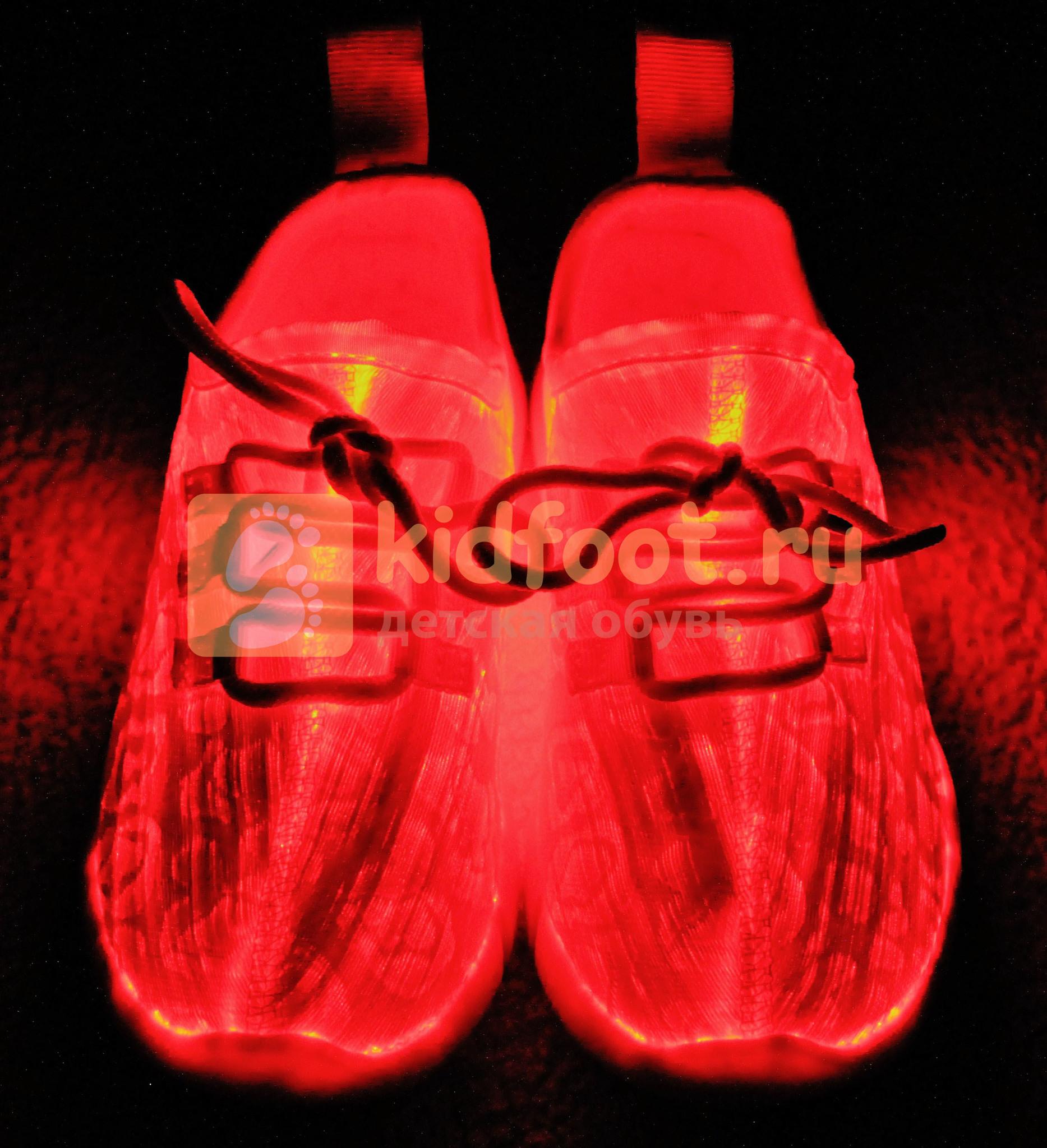 Светящиеся кроссовки с USB зарядкой на шнурках, цвет белый, светится верх