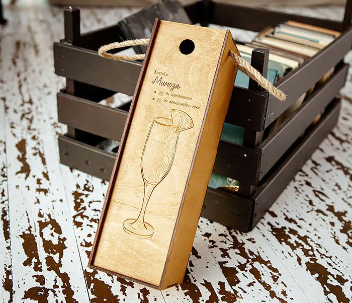 BOX241 Деревянная коробка для шампанского (33*10*10,5 см) фото 03