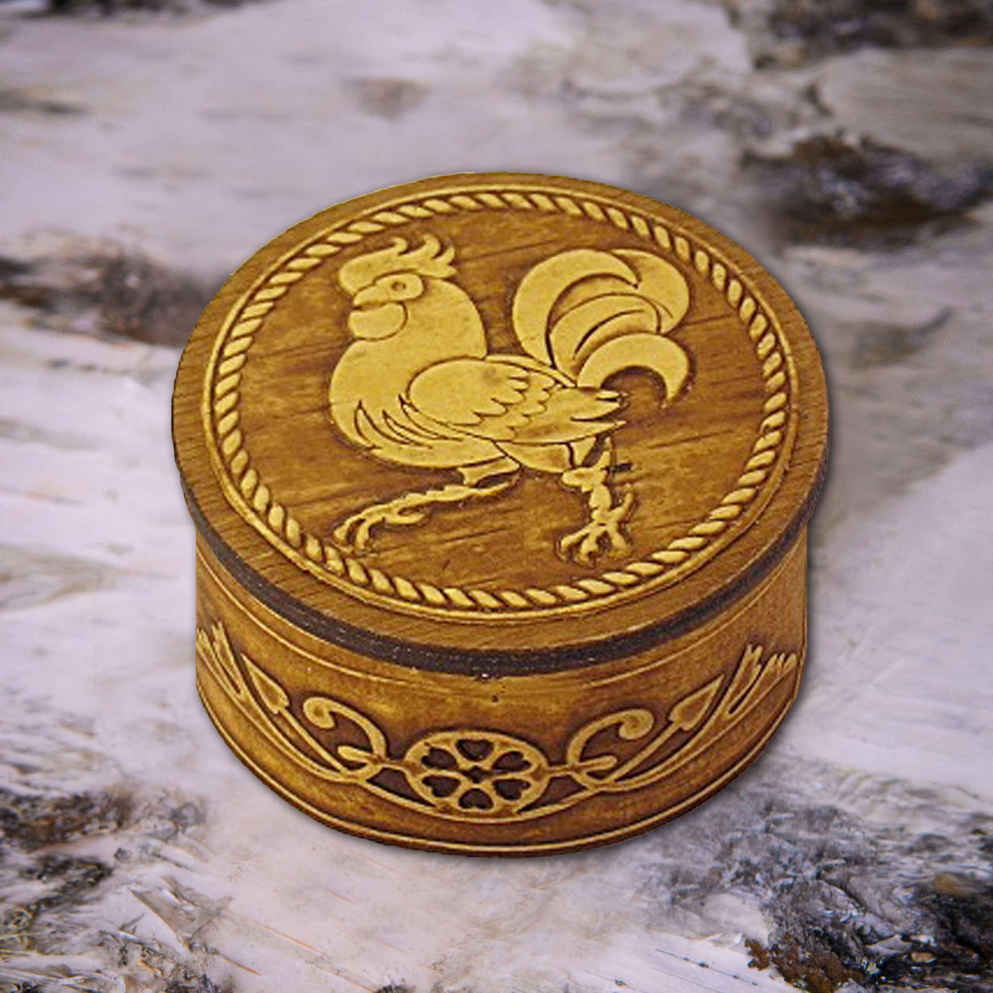 Шкатулка Золотой Петушок на бересте