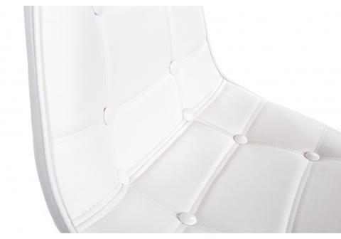 Офисное кресло для персонала и руководителя Компьютерный стул PC-306 на колесах белый 56*56*92 Хромированный металл каркас /Белый кожзам