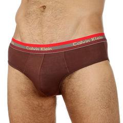 Мужские трусы брифы коричневые c трехцветной резинкой  Calvin Klein Modal Brief