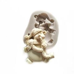 0918 Молд силиконовый Мишка новогодний.