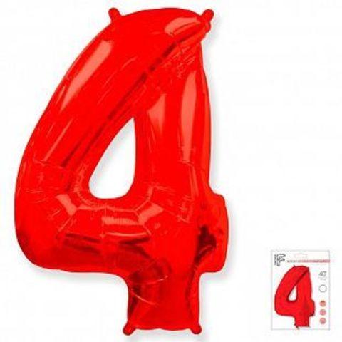 Цифра четыре- красная