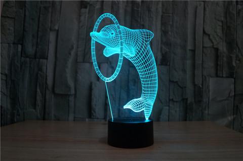 3D лампа Дельфин и кольцо
