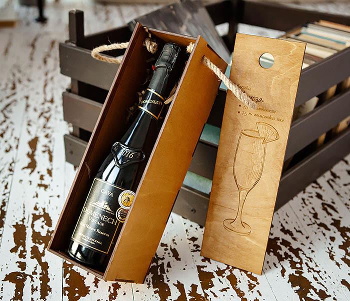 BOX241 Деревянная коробка для шампанского (33*10*10,5 см) фото 04