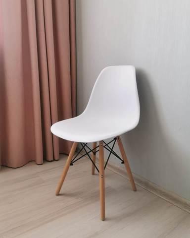 Интерьерный кухонный стул Eames DSW Style Wood, белый