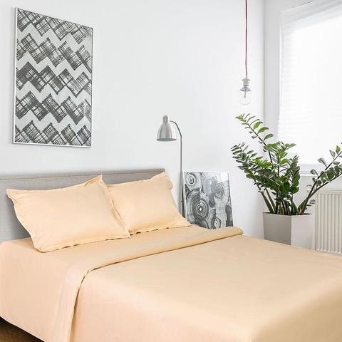 2-Спальное однотонное постельное белье мако-сатин персиковый