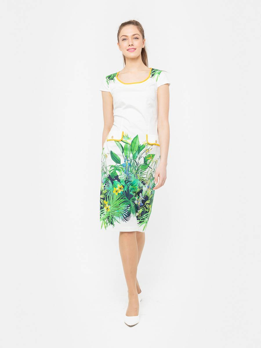 Платье З101-553 - Летнее платье приталенного силуэта из хлопка с небольшим добавлением эластана. Оно прекрасно держит форму, удобно в повседневном ношении и дает коже возможность дышать. Отличный вариант для офиса и повседневного гардероба.