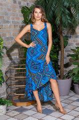 Платье с удлиненным подолом сзади синий принт