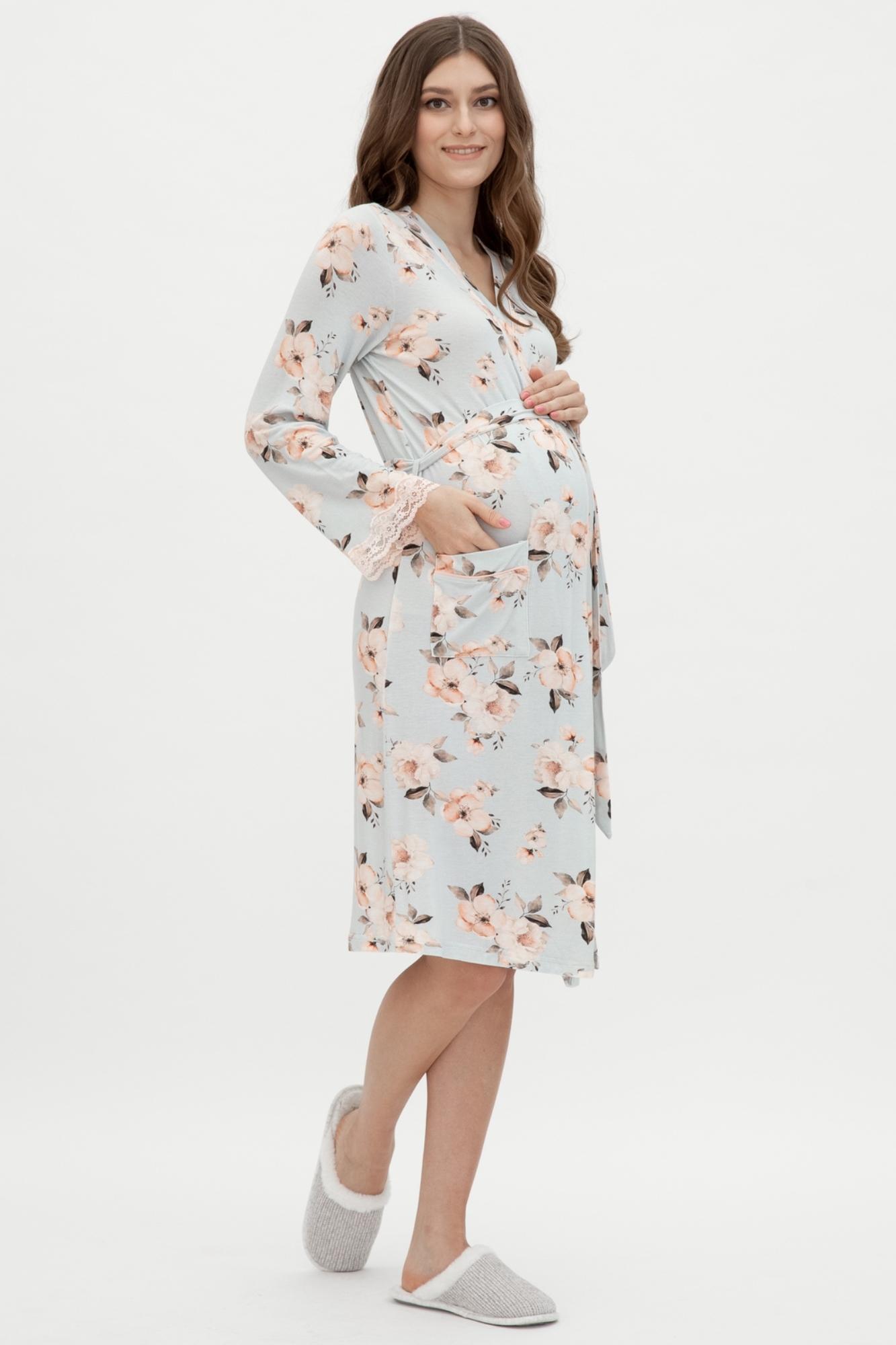 Халат для беременных 11036 цветы