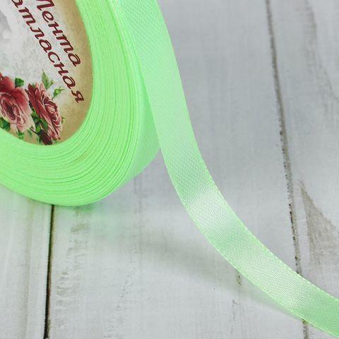 Лента атласная, цвет бледно-зелёный, 10мм*23±1м