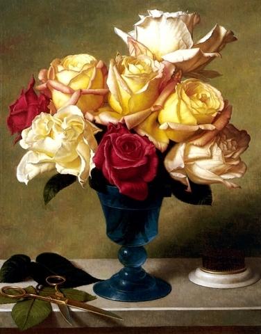 Алмазная Мозаика 40x50 Букет роз на столе с ножницами (арт. S2981 )