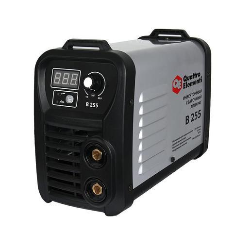 Аппарат электродной сварки, инвертор QUATTRO ELEMENTI B 255 (255 А, ПВ 80%, до 5.5 мм, 5.6 кг, Дисплей, TIG-Lift, от 160В, КЕЙС)