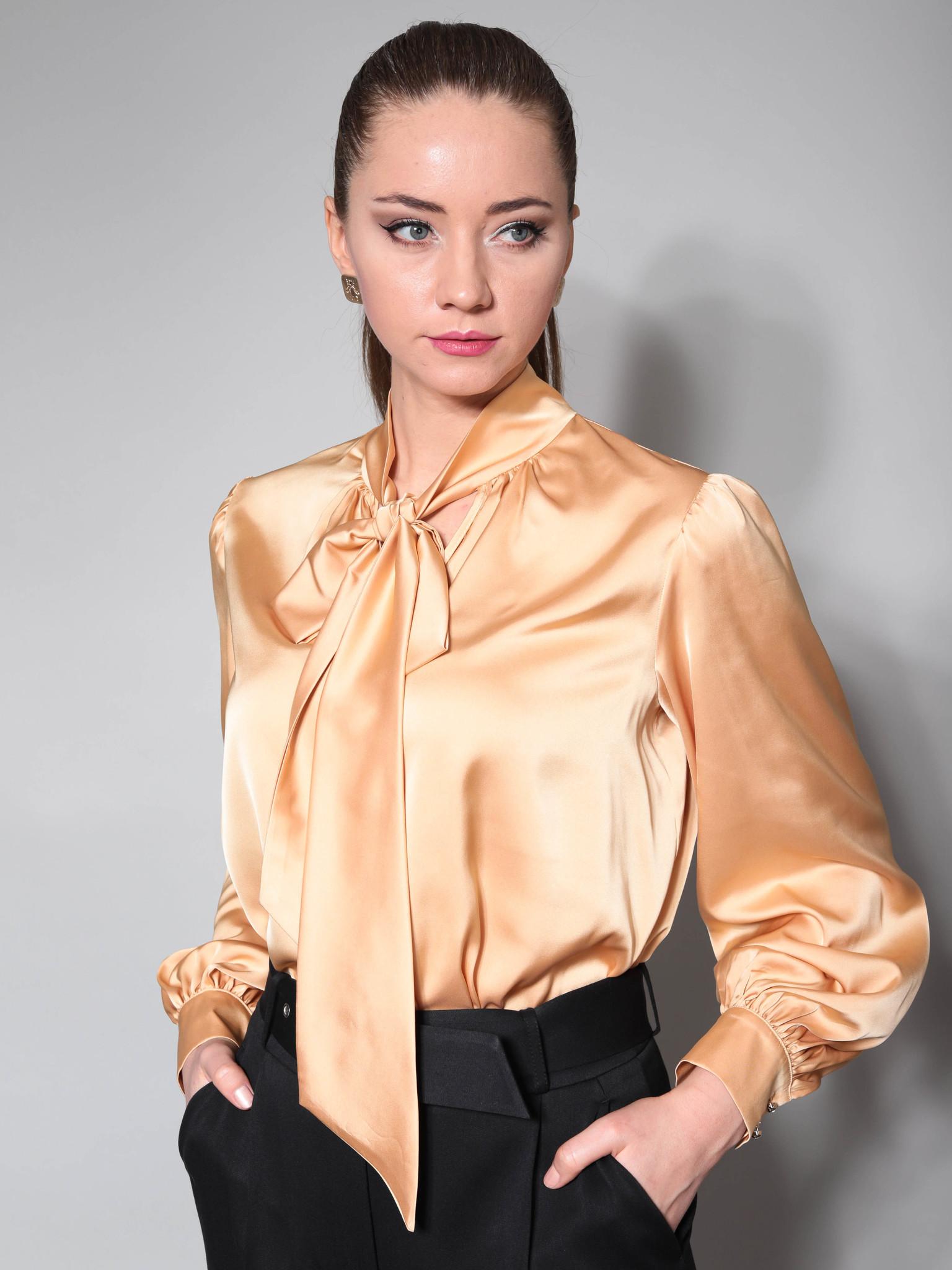 Блузка с воротником-бантом из шелка (золотой)