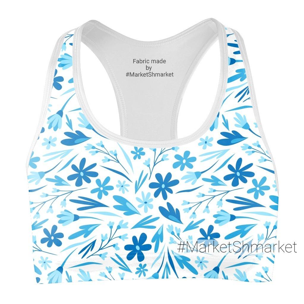 Сине-голубые стилизованные цветы