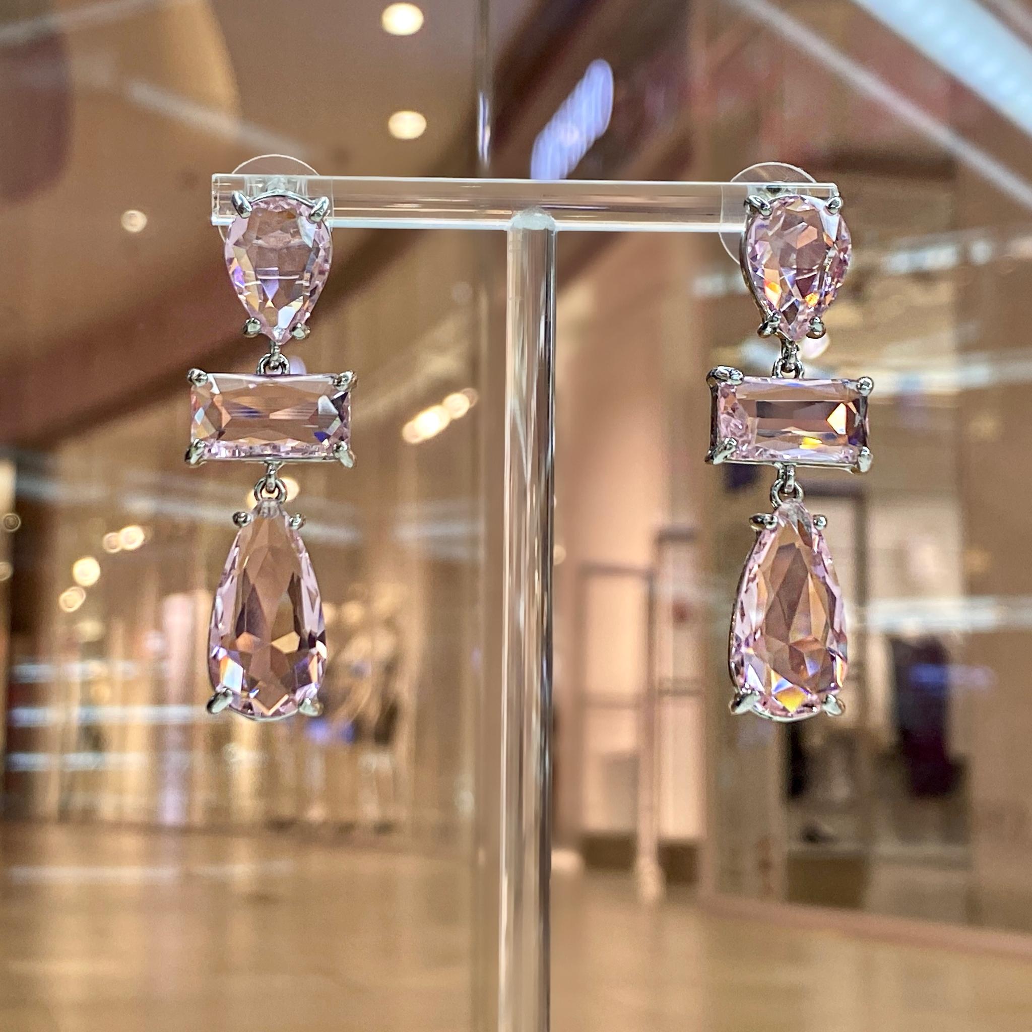 Серьги Циркон с каплевидными и багетными вставками розовый