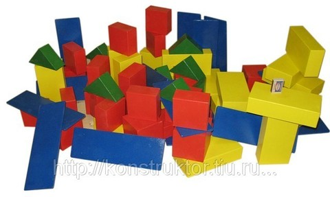 Конструктор напольный детский  из дерева. Модель «Строитель» - 78 элементов