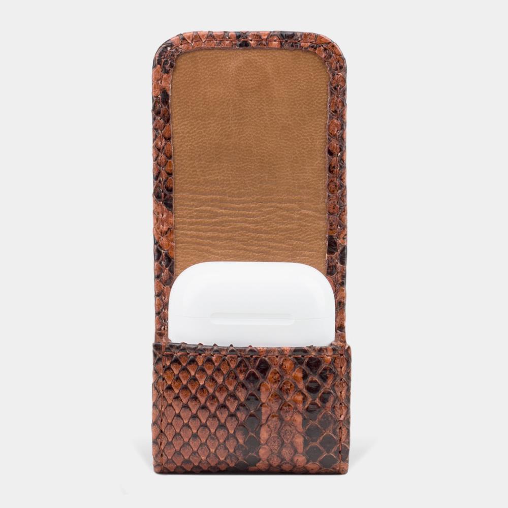 Чехол-держатель для наушников Petit Bisness из натуральной кожи питона, цвета коньяк