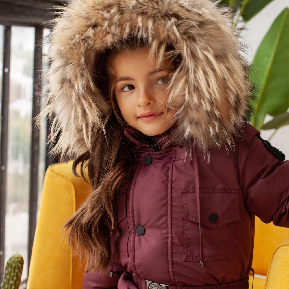 Дитячий зимовий комбінезон з натуральної опушкою