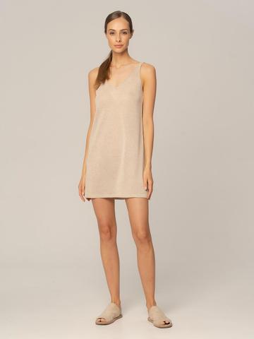 Женское платье песочного цвета из вискозы - фото 2