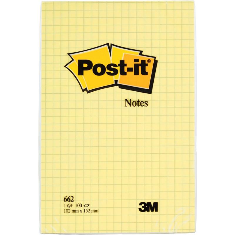 Стикеры Post-it Original 102x152 мм пастельные желтые в клетку (1 блок, 100 листов)