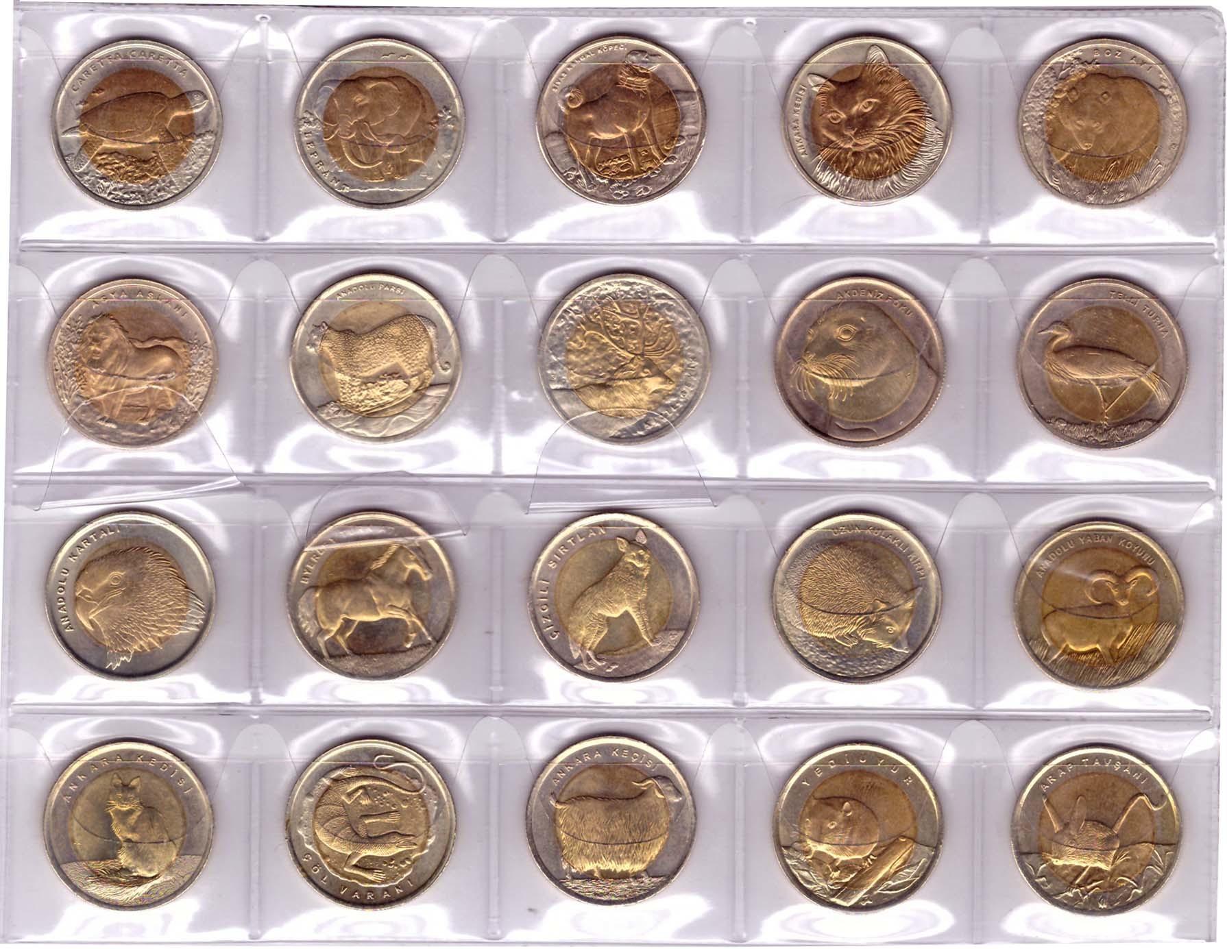 "Набор из 20 монет ""Красная Книга Турции""  2009-2016 г.  1 лира. AU-UNC"
