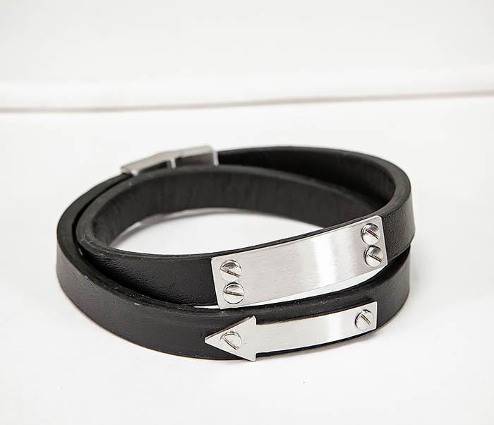 BM572 Кожаный браслет пластиной для гравировки