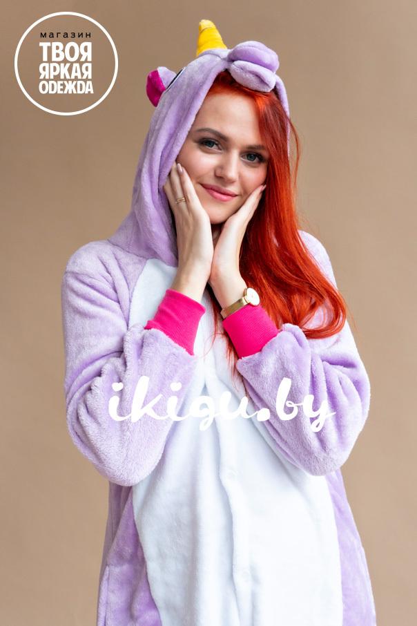 Пижамы кигуруми Единорог Пурпурный пурпурный_рыжая.jpg