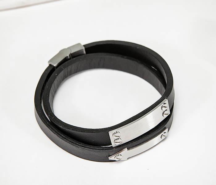 BM572 Кожаный браслет пластиной для гравировки фото 02