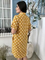 Анна. Сукня-сорочка літня плюс сайз. Гірчиця