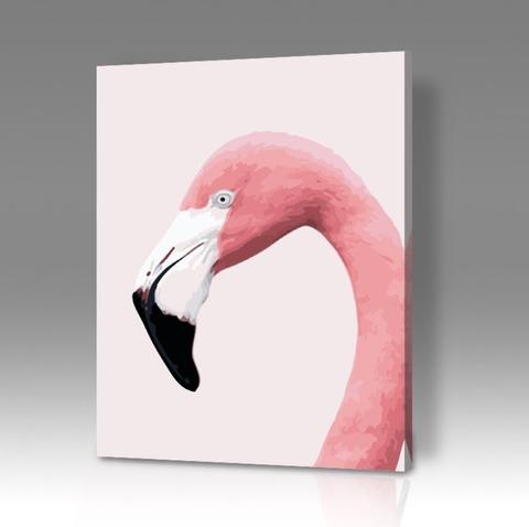 Картина по номерам на холсте Фламинго на белом фоне, 40см*50см