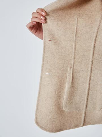 Пальто-жакет на поясе из шерсти беж